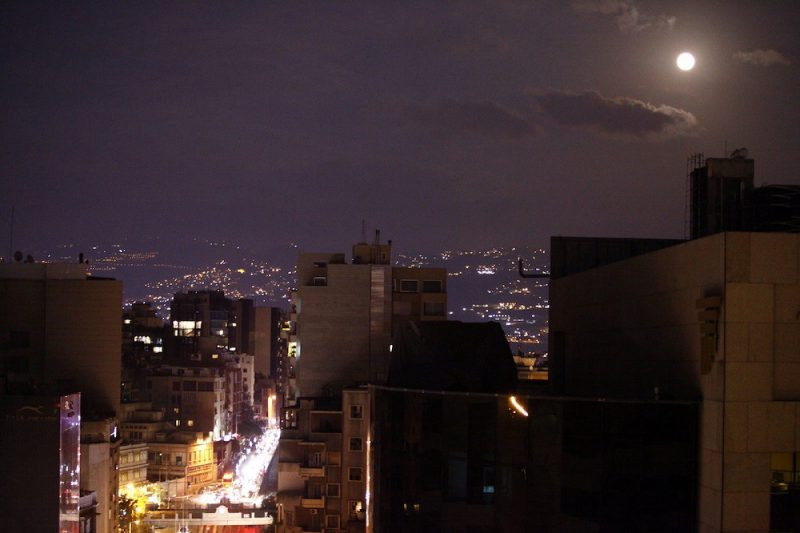 Full moon over Ashrafieh casting a purple haze over the city