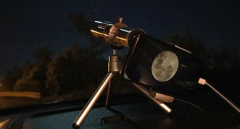 mobile phone lens tripod night moon