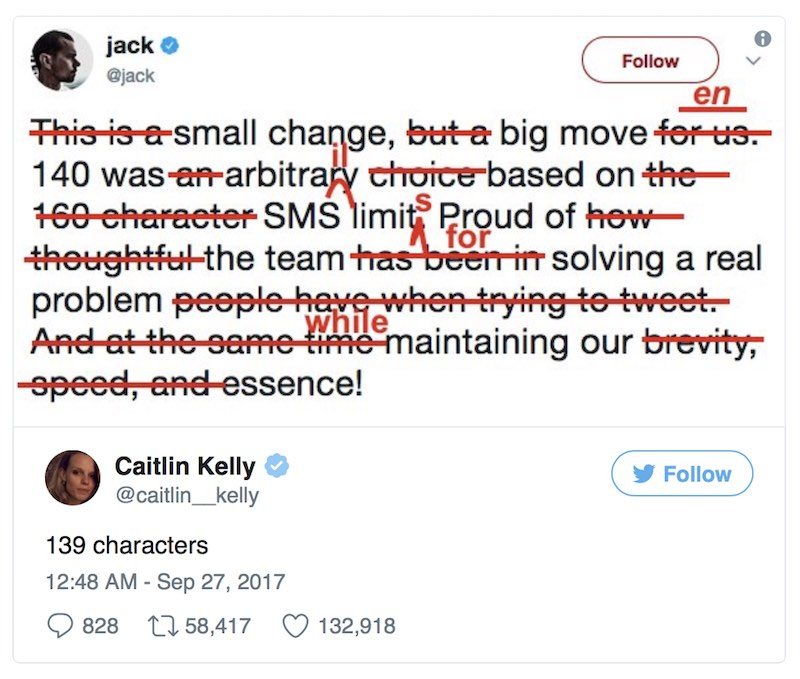 Twitter Reply to Jack Dorsey 280 Characters